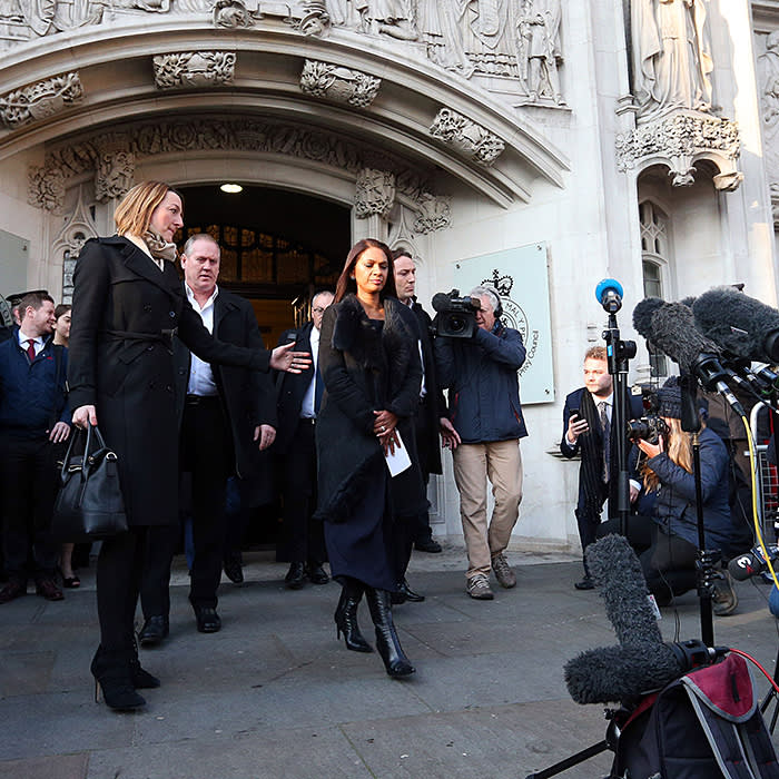 LONDON, ENGLAND - JANUARY 24: Lead claimant Gina Miller speaks outside the Supreme Court in Parliament Square following a majority ruling against the government, on January 24, 2017 in London, England. Judges ruled by a majority of 8 to 3 that the government cannot trigger Article 50 without an act of Parliament. (Photo by Jonathan Brady - WPA Pool /Getty Images)