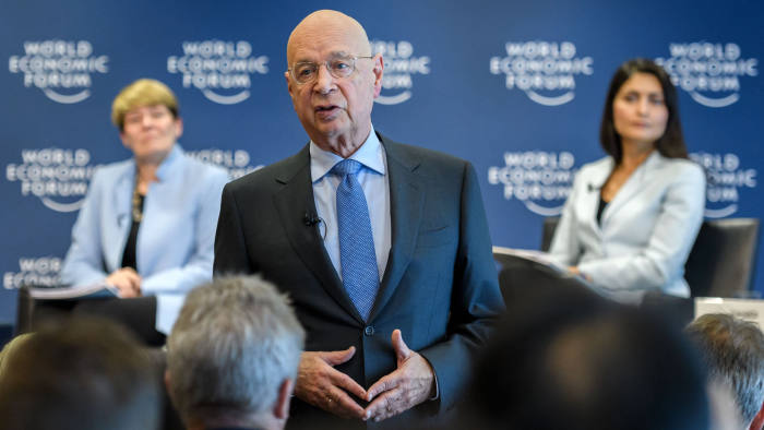 World Economic Forum (WEF) Founder and Executive Chairman Klaus Schwab attends a press conference ahead of the WEF 2018 Annual Meeting, on January 16, 2018 in Cologny, near Geneva. US President's planned visit to the World Economic Forum at at the luxury Swiss ski resort town of Davos next week will likely eclipse the long list of other movers and shakers set to attend. / AFP PHOTO / Fabrice COFFRINI (Photo credit should read FABRICE COFFRINI/AFP via Getty Images)
