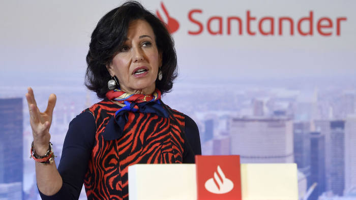 Spanish Santander Bank executive chairperson Ana Botin holds a press conference to present the company's 2019 results in Boadilla del Monte on January 29, 2020. - Spanish banking giant Banco Santander reported today better-than-expected earnings last year despite Brexit uncertainties leading to a massive 1.5 billion euros hit on ($1.65 billion) on its British business, slashing 2019 net profit by 17 percent. (Photo by PIERRE-PHILIPPE MARCOU / AFP) (Photo by PIERRE-PHILIPPE MARCOU/AFP via Getty Images)