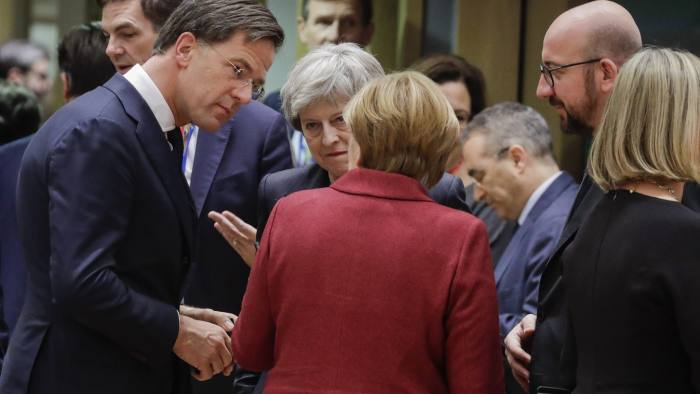 13 December 2018, Belgium, Brussels: Dutch Prime Minister Mark Rutte (L), British Prime Minister Theresa May (2-L), German Chancellor Angela Merkel (2-R) and Belgian Prime Minister Charles Michel (R) arrive at the EU Summit on Brexit at the European Union headquarters. Photo: Thierry Roge/belga/dpa