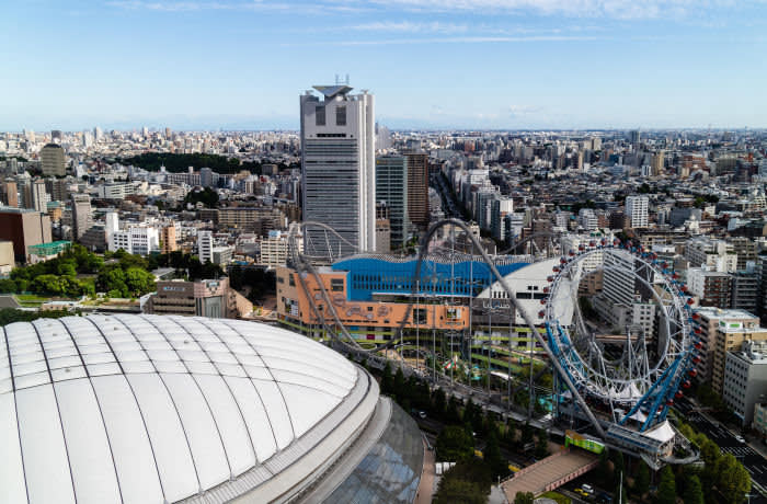 PT3EF9 Tokyo, Japan - 08/16/2018: An aeiral view of Bunkyouku in Tokyo, next to the Tokyo Dome