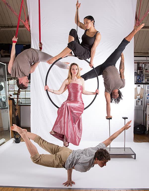Sarah Tynan with an ensemble of circus artists