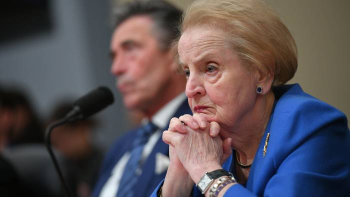 Former US Secretary of State Madeleine Albright speaks along with former NATO chief Anders Fogh Rasmussen during a hearing on