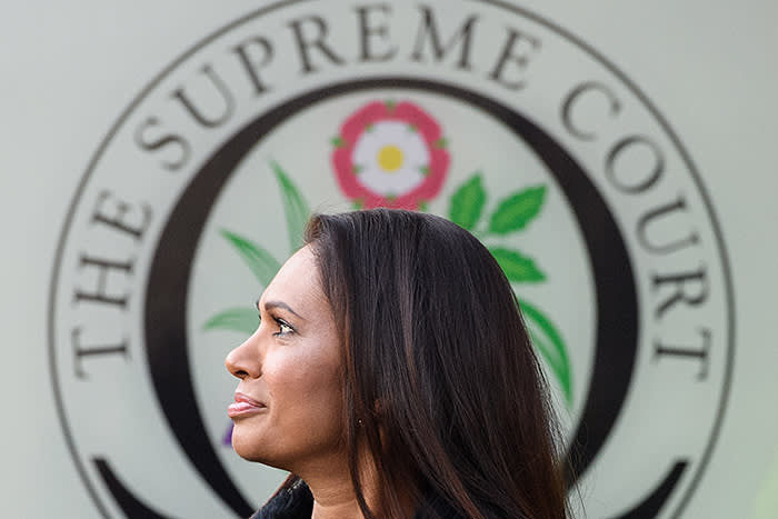 LONDON, ENGLAND - JANUARY 24: Campaigner Gina Miller arrives at the Supreme Court in Parliament Square ahead of the ruling on whether Parliament have the power to begin the Brexit process, on January 24, 2017 in London, England. The judgement will play an important role in how the Government proceeds with it's planned use of the EU's Article 50 exit clause. (Photo by Leon Neal/Getty Images)