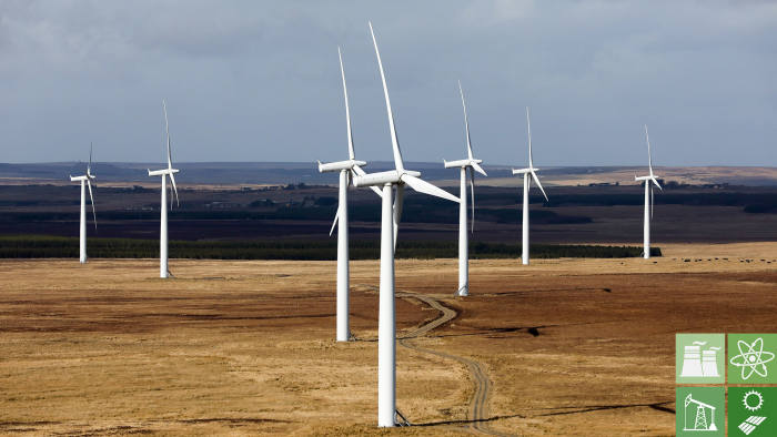 A wind farm stands in the Sutherland area of Scotland, U.K., on Wednesday, March 22, 2017. Generating power from new onshore wind farms would be 100 million pound a year cheaper than doing so from new nuclear reactors or biomass plants, and at least 30 million pounds cheaper than under the latest offshore wind-power contracts, according to research by the Energy & Climate Intelligence Unit, a London-based non-profit group.v Photographer: Chris Ratcliffe/Bloomberg