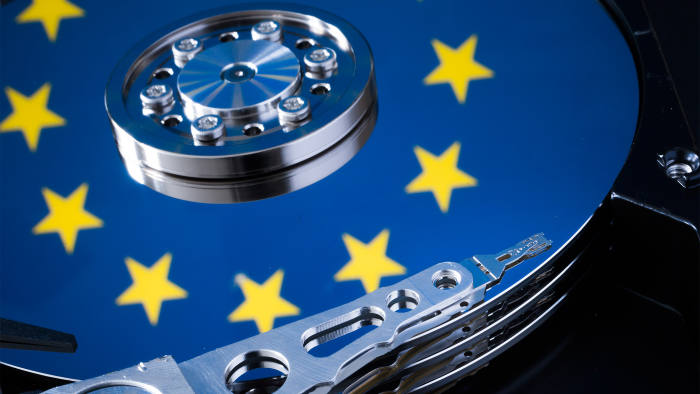 Symbolic photo for data protection, reflection of the flag of the European Union in a computer hard drive