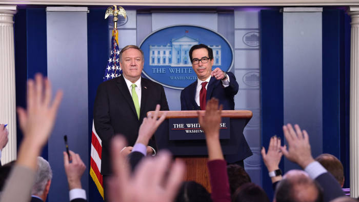 US Secretary of State Mike Pompeo and Treasury Secretary Steven Mnuchin take questions after announcing new sanctions on Iran, at the White House in Washington, DC, on January 10, 2020. (Photo by Nicholas Kamm / AFP) (Photo by NICHOLAS KAMM/AFP via Getty Images)