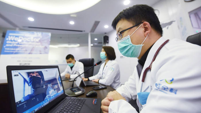 Chinese doctors provide online consultation services for overseas users through the WeDoctor Global consultation and Prevention Center (GCPC).