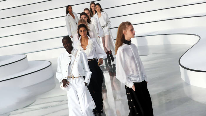 Mandatory Credit: Photo by CHRISTOPHE PETIT TESSON/EPA-EFE/Shutterstock (10572855l) Models present creations from the Fall-Winter 2020/21 Women's collection by French designer Virginie Viard for Chanel fashion house during the Paris Fashion Week, in Paris, France, 03 March 2020. The Fall-Winter 2020/21 women's collection runs from 24 February to 03 March 2020. Chanel - Runway - Paris Fashion Week Women F/W 2020/21, France - 03 Mar 2020