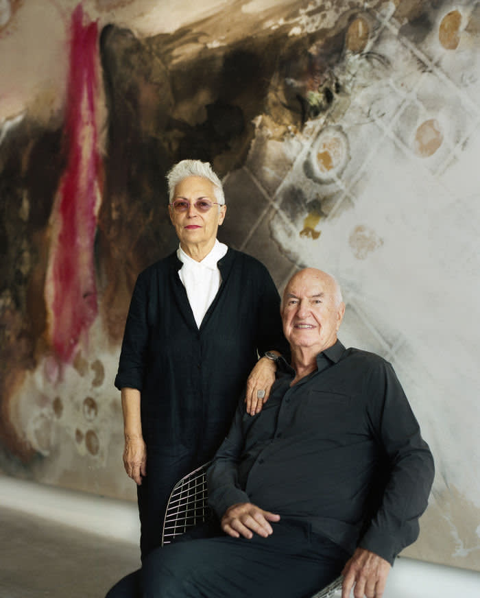 The Rubells photographed for The FT by Melanie Metz at the Rubell Museum, Miami. The image behind the Rubells in their portrait is Lucy Dodd, Guernika, 2014.