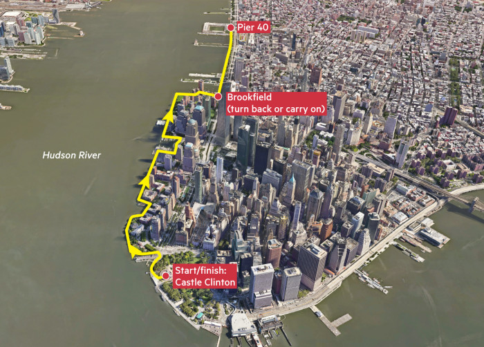 Map showing running route in Lower Manhattan, New York