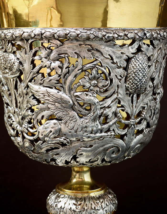 5. Detail of the Pepys Cup 1879, electroformed copper, electroplated and electrogilt. Elkington & Co. © Angela Moore