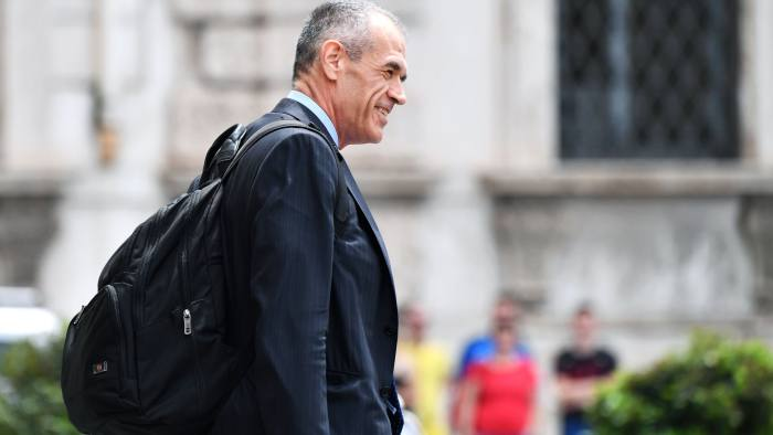 Itlian economist, formerly with the International Monetary Fund, Carlo Cottarelli leaves the Qurinale presidential palace on May 28, 2018 in Rome after a meeting with Italian President Sergio Mattarella that gave him mandate to form a government. Italy's president appointed pro-austerity economist Carlo Cottarelli, 64, to form a potential technocrat government as the country lurched into fresh political chaos following the collapse of a populist bid for power. / AFP PHOTO / Alberto PIZZOLIALBERTO PIZZOLI/AFP/Getty Images
