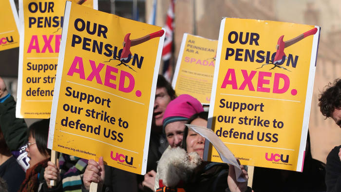 File photo dated 08/03/18 of university staff on a strike in a dispute over pensions. More than 1,000 students have joined a class action seeking compensation for disruption caused by walkouts by academics in a pension dispute, according to a firm of solicitors.