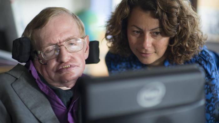 Hawking with Intel Principal engineer and project lead Lama Nachman.jpg