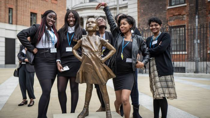 "05/03/19  Paternoster square, City of London.   ""Fearless Girl"" is unveiled in paternoster square in the City of London today."