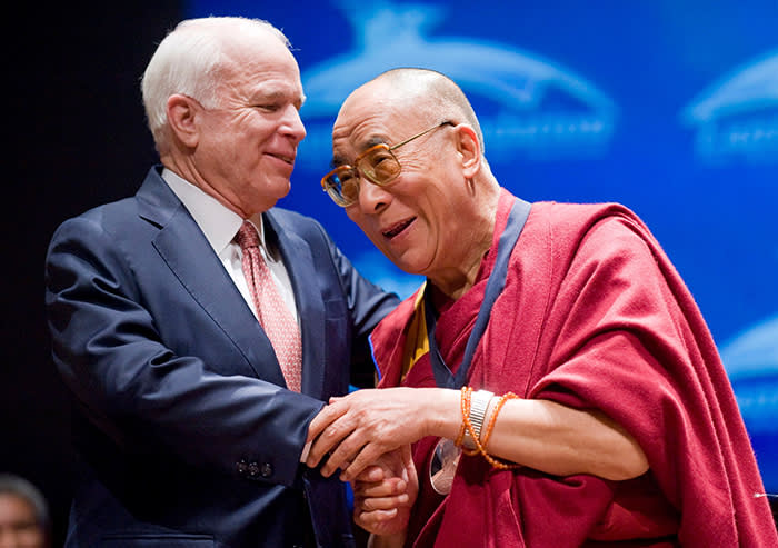 Mandatory Credit: Photo by MATTHEW CAVANAUGH/EPA-EFE/REX/Shutterstock (9808170a) (FILE) - The Dalai Lama (R) is congratulated by US Republican Senator John McCain (L) of Arizona, after he was awarded the first Lantos Human Rights Prize, on Capitol Hill in Washington, DC, USA, 06 October 2009. According to news reports, Republican Senator John McCain has passed away on 25 August 2018 at the age of 81. John McCain - a former naval aviator shot down on a mission over Hanoi in October 1967, captured and made a prisoner of war until 1973 - was the Republican nominee for President of the United States in the 2008 election, which he lost to Barack Obama. US Senator John McCain dies at 81, Washington, USA - 06 Oct 2009