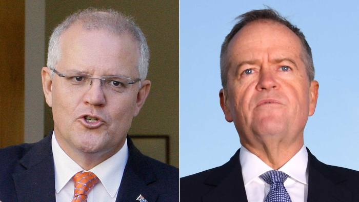 Prime minister Scott Morrison, left, and opposition leader Bill Shorten, right, both won their jobs after periods of bitter party infighting