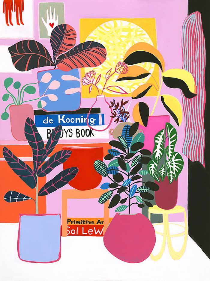 Mary Finlayson, de Kooning, Bueys and Plants, 18x24, 2017, $1,750 Superfine Fair