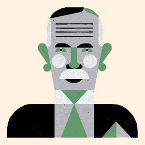 An illustration by Raymond Biesinger depicting John Maynard Keynes