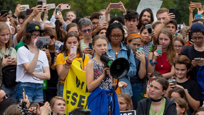 Swedish environment activist Greta Thunberg speaks at a climate protest outside the White House in Washington, DC on September 13, 2019. - Thunberg, 16, has spurred teenagers and students around the world to strike from school every Friday under the rallying cry