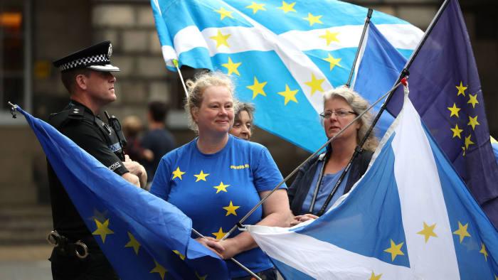 Pro-EU demonstrators outside the Court of Session in Edinburgh
