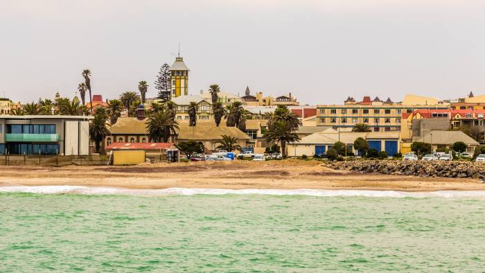 View from the sea on coastline of Swakopmund German colonial tow