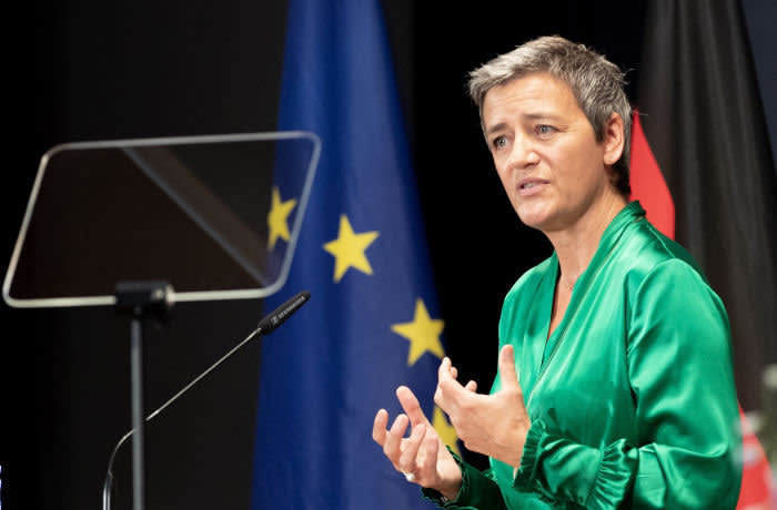 epa07796836 European Commissioner for Competition Margrethe Vestager speaks at the opening ceremony of the Business Day during the 17th Ambassadors Conference in Berlin, Germany, 27 August 2019. This year?s conference is organized under the motto ?Multilateralism - Germany in the EU and UN? together with numerous high-ranking representatives of politics, businesses and culture. EPA-EFE/HAYOUNG JEON