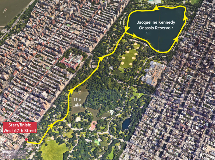 Map showing running route in Central Park, New York