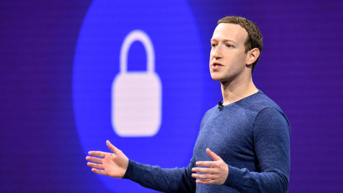 """(FILES) In this file photo taken on May 1, 2018 Facebook CEO Mark Zuckerberg speaks during the annual F8 summit at the San Jose McEnery Convention Center in San Jose, California. - Facebook is working to prevent livestreams of terror attacks such as the one in New Zealand but it does not plan to introduce a delay on live feeds, CEO Mark Zuckerberg said. Zuckerberg, in an interview with ABC's """"Good Morning America"""" broadcast on April 4, 2019, also said he had confidence in measures put in place by Facebook to prevent interference in next year's US presidential election. (Photo by JOSH EDELSON / AFP)JOSH EDELSON/AFP/Getty Images"""