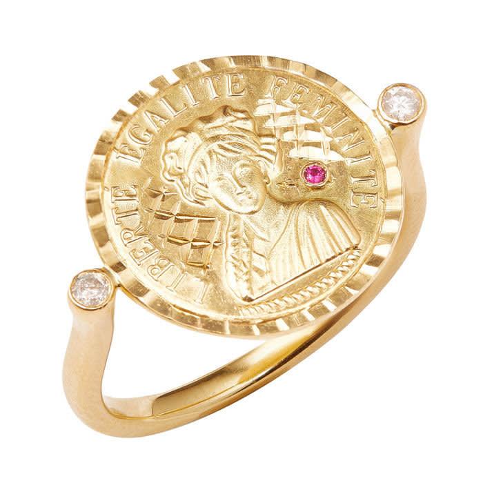 An Anissa Kermiche Louise D'Or ring, £1,100, anissakermiche.com
