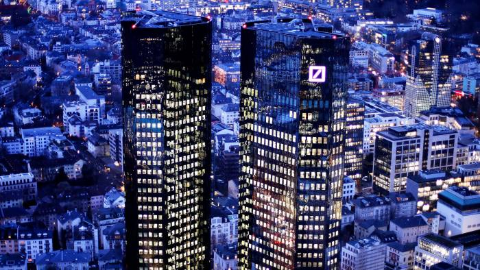 FILE - The Feb. 1, 2018 file photo shows the towers of the Deutsche Bank in Frankfurt, Germany, Thursday. Deutsche Bank will present the figures of the first quarter 2018 on Thursday, April 26, 2018. (AP Photo/Michael Probst, file)