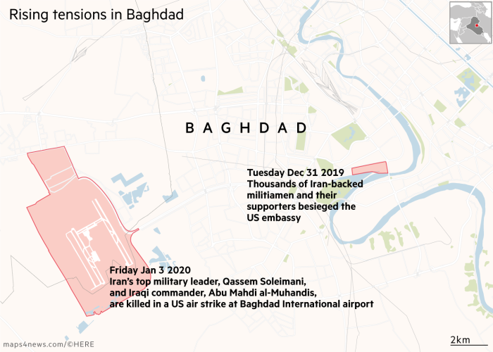 Map showing recent events in Baghdad. Tuesday Dec 31 2019 Thousands of Iran-backed militiamen and their supporters attack theUS embassy . Friday Jan 3 2020Iran's top military leader, Qassem Soleimani, and Iraqi commander,  Abu Mahdi al-Muhandis, are killed in a US air strike at Baghdad International airport