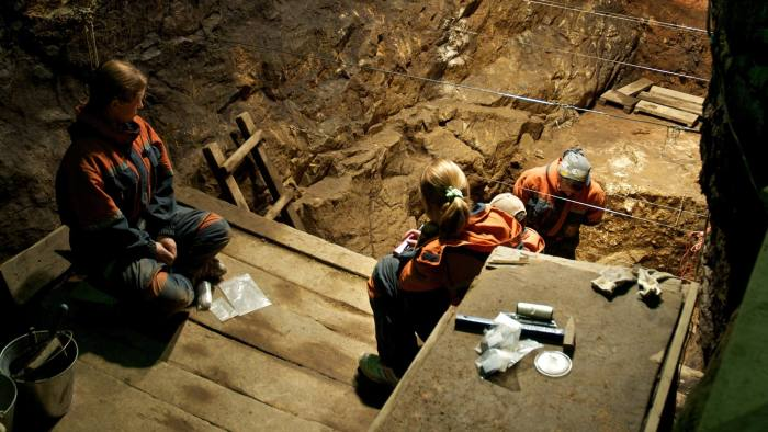 Excavation in the East Gallery of Denisova Cave, August 2010