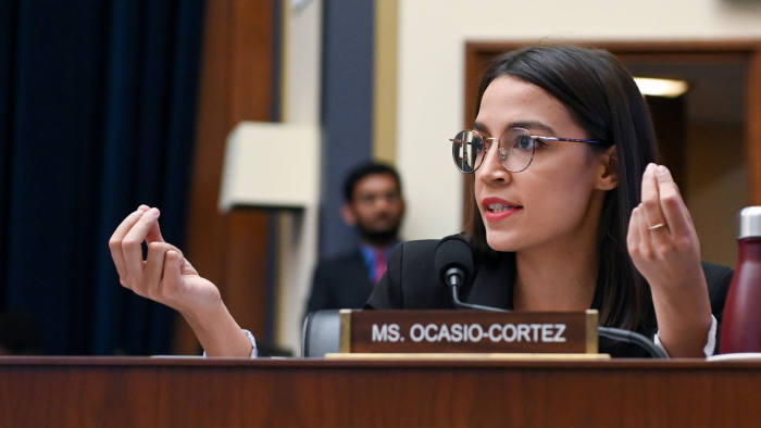 Rep. Alexandria Ocasio-Cortez (D-NY) participates in a House Financial Services Committee hearing with Facebook Chairman and CEO Mark Zuckerberg in Washington, U.S., October 23, 2019. REUTERS/Erin Scott - RC1FBD0815D0