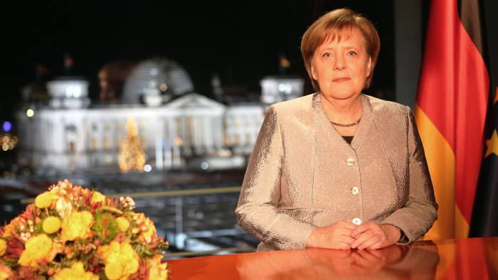 BERLIN, GERMANY - DECEMBER 30: (STRICTLY EMBARGOED UNTIL 0:00 CET MONDAY, DECEMBER 31, 2018) German Chancellor Angela Merkel records her televised New Year's address to the nation at the Chancellery on December 30, 2018 in Berlin, Germany. Her address will be broadcast on German television tomorrow on December 31. (Photo by Mika Schmidt - Pool/Getty Images)