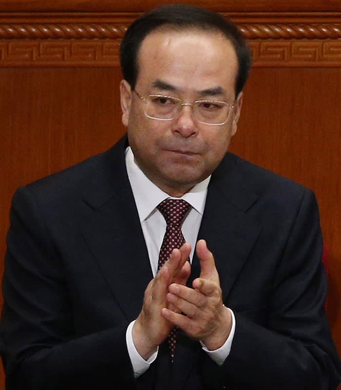 epa06092649 A photo dated 03 March 2017 of Sun Zhengcai, Chongqing municipality Communist Party secretary, attending the opening of the fifth session of the 12th Chinese People's Political Consultative Conference (CPPCC) National Committee at the Great Hall of the People (GHOP) in Beijing, China (issued 17 July 2017). According to media reports, Sun Zhengcai is under investigation for allegedly violating party regulations. EPA/WU HONG