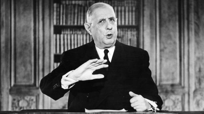 French President General Charles de Gaulle gestures while addressing the nation during a TV speech on the eve of the New Year 1963 on December 31, 1962. AFP PHOTO (Photo credit should read -/AFP/Getty Images)