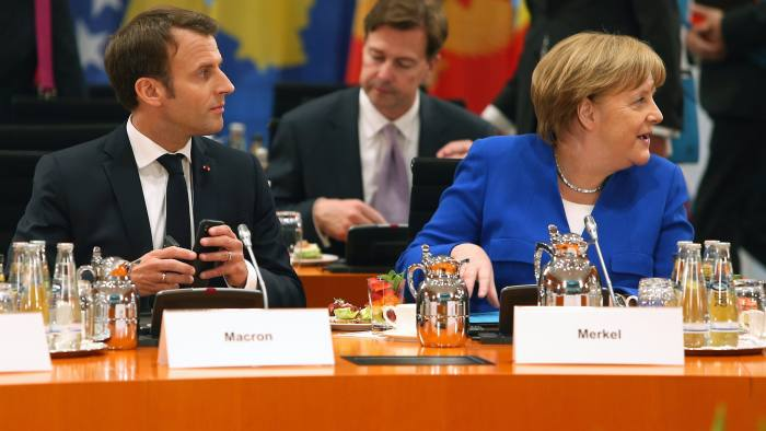 BERLIN, GERMANY - APRIL 29: French President Emmanuel Macron and German Chancellor Angela Merkel during the Western Balkan Conference at the Chancellery on April 29, 2019 in Berlin, Germany. (Photo by Mika Schmidt - Pool/Getty Images)