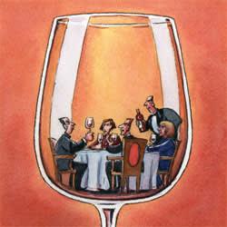 Wine dinner illustration