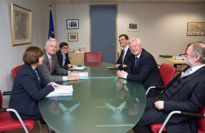 The EU's Sabine Weyand, Michel Barnier and Stéphanie Riso meet Oliver Robbins, David Davis and Sir Tim Barrow July 2017 negotiations in Brussels EU Commission AFP pool