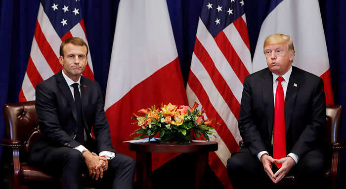France's President Emmanuel Macron and U.S. President Donald Trump react as they hold a bilateral meeting on the sidelines of the 73rd United Nations General Assembly in New York, U.S., September 24, 2018. REUTERS/Carlos Barria TPX IMAGES OF THE DAY
