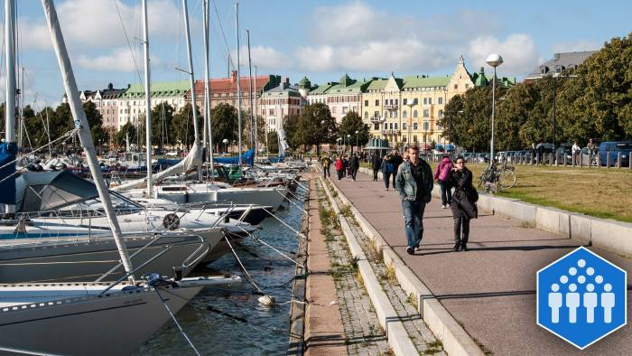A view along Merisatama port and promenade towards the prestigious Merikatu Street in Helsinki. (Photo by: Loop Images/UIG via Getty Images)