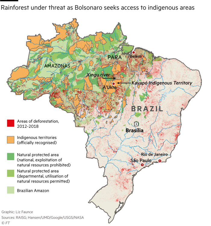 Map showing Amazonian rainforest under threat as Bolsonaro seeks access to indigenous areas