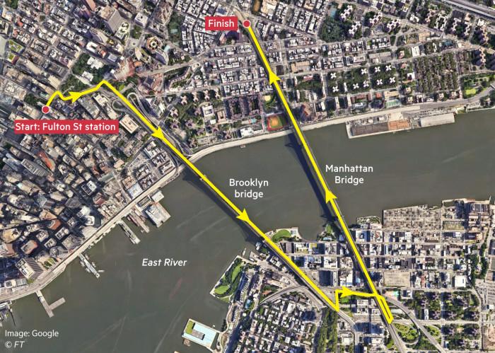 Map showing running route around Brooklyn Bridge and Manhattan Bridge, New York