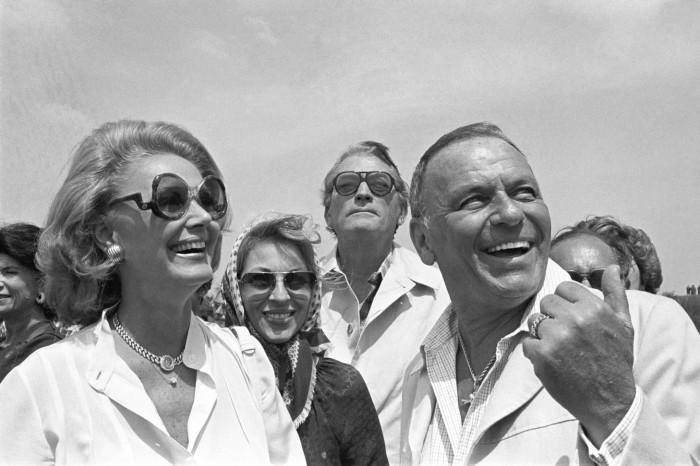 Fr.left to rt: BARBARA SINATRA; Mrs.GREGORY PECK, GREGORY PECK, FRANK SINATRA During visit to IAF base.IAF.Base 19780401 (Photo by David RUBINGER/Corbis via Getty Images)
