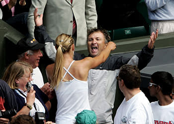 Maria Sharapova hugging her father after winning Wimbledon in 2004, aged 17