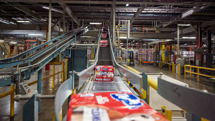 Proctor & Gamble's Charmin Ultra Soft toilet paper in a manufacturing site. Press photo.