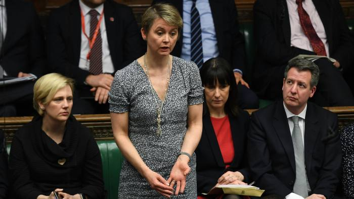 Britain's opposition Labour Party lawmaker Yvette Cooper stands to address the house of Commons Parliament during the debate on Britain's Brexit European Union Withdrawal Act, in London, Tuesday Jan. 29, 2019. Seeking to break the parliamentary deadlock on Britain's Brexit from Europe, Prime Minister Theresa May says she will seek to change the divorce deal between the U.K. and Europe. (Jessica Taylor/UK Parliament via AP)