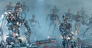 Terminator 3: The Rise of the Machines (2003) depicts a world terrorised by malevolent, human-killing robots